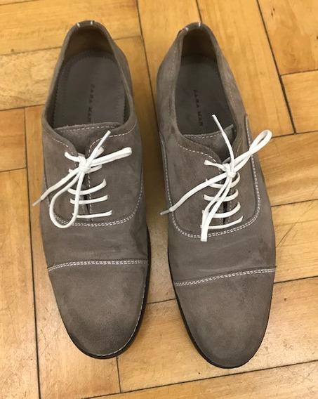 Zapatos Hombre Zara Beige Acordonados Talle 43