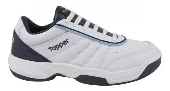 Zapatillas Topper Tenis Tie Break Hombre - Blanco Azul