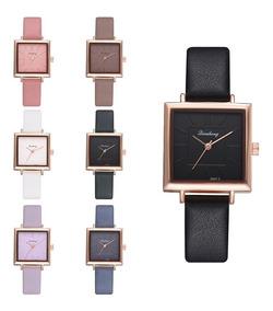 Relógio Feminino Pulseira Couro Quadrado Vintage Moda Luxo