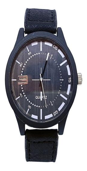 Relógio Preto Masculino Pulseira Couro Reforçada De Pulso