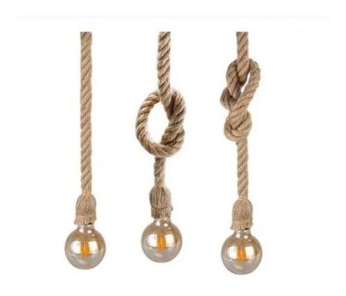 Colgante Con Cuerda Soga 1,5m Vintage Para Lámpara E27