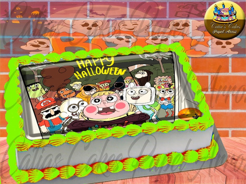 Papel De Arroz Comestível P/ Bolo Halloween Cartoon Tooncast