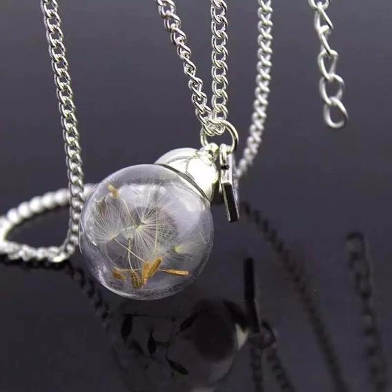 Collar Diente Leon Cristal Templado Cadena 50cm Dandelion