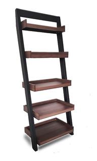 Librero Escalonado Step 67 (madera: Melamina Herrería Negra)