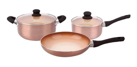 Bateria De Cocina Ceramica Hudson Antiadherente Set 5 Piezas