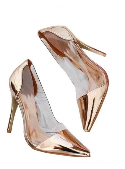 Sapato Scarpin Cristal Gold ---- Enviamos Até 5 Dias