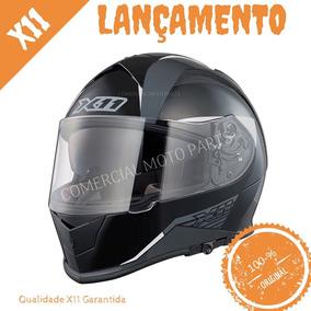 Capacete X11 Revo Preto / Cinza C/ Óculos Solar Interno