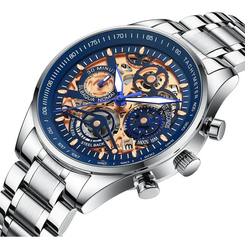 Imagen 1 de 6 de Nibosi Relojes Hombre Impermeable Fecha 2385 Azul