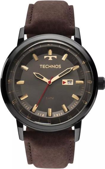 Relógio Technos Masculino Classic Golf Couro Legitimo Marrom 2115laq/2c Original T44