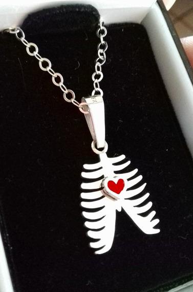 Dije Collar Torax Medicina Corazón Plata .925 Envió Gratis!!