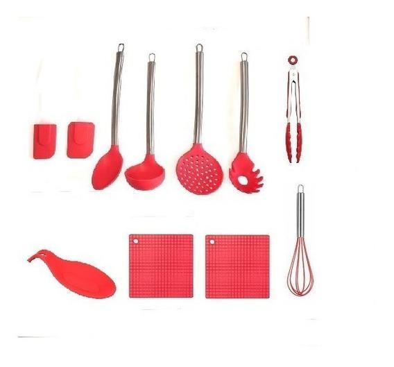 Conjunto De Colheres De Silicone 11 Pç Para Panelas Teflon