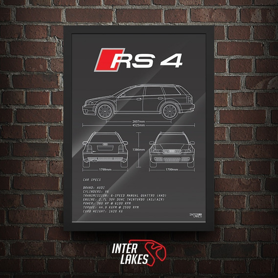 Quadro Audi Rs4 - Pôster Carro Interlakes