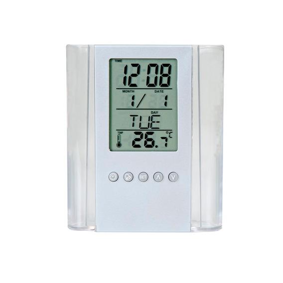Kit 10 Un Porta-canetas Com Relógio Digital E Temperatura