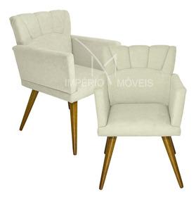 Kit 2 Poltrona Decorativa Cadeira P/ Salão Beleza Barbearia