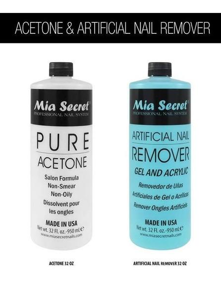 Mia Secret Removedor De Sistemas De Uñas Acetona Pura Litro