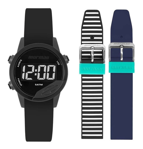 Relógio Mormaii Mude Unissex Digital Preto + 2 Pulseiras