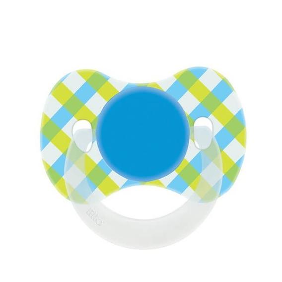 Chupeta Funny Xadrez Silicone T2 - Lillo Azul Ou Rosa