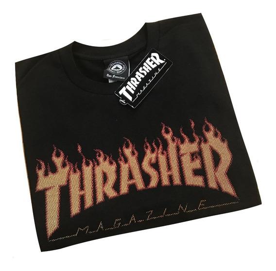 Remera Thrasher Orig Flame Lienzo. Envíos A Todo El País.