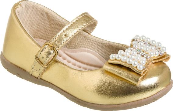 Sapatilha Dourada Infantil Menina Festa (1 Par)