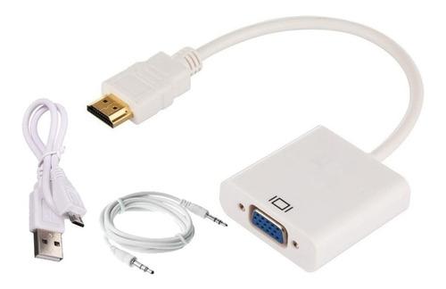 Cable Adaptador Convertidor De Hdmi A Vga Monitor Con Audio
