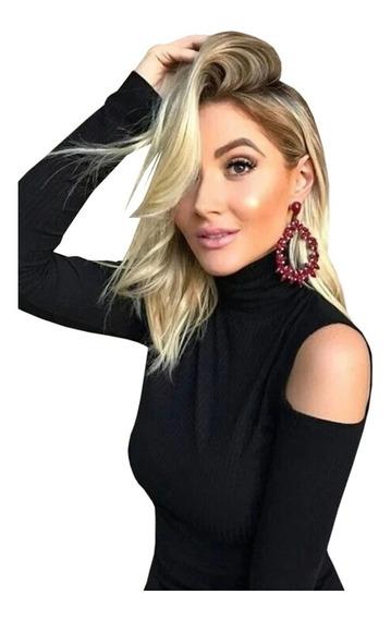 Blusa Feminina Gola Alta Ombros Vazados