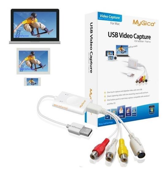 Placa Captura Hd Video Usb Vhs Audio Video Notebook Pc Ps2