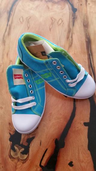 Zapatos Tenis Levis Talla 25 Lona Colorcazul Claro