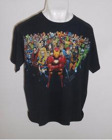 Marvel Playera Negra Con Iron Man Y Superhéroes Talla L