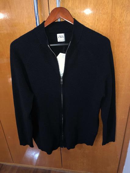 Casaco Zara Com Bolsos Preto Em Malha