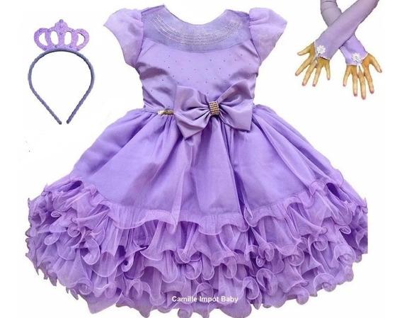 Vestido Festa Luxo Princesa Sofia E Coroa E Luvas