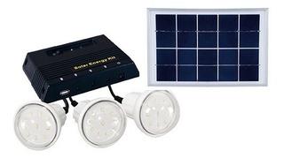 Kit Panel Solar Aislado 6w Y 3 Focos Super Led. Portatil
