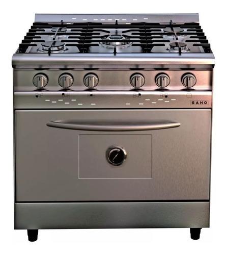 Cocina Industrial Saho Jitaku 820 A Gas 5 Hornallas Plateada 220v Puerta Ciega