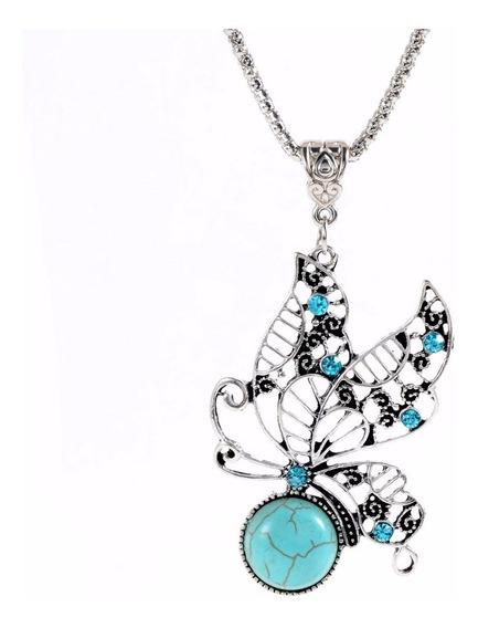 Colar Feminino Pingente Borboleta Azul Turquesa Tibetano