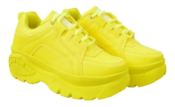 Tênis Sneaker Bf Feminino Dubbele Plataforma De 5cm Altura