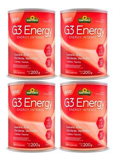 4x G3 Energy Com Cafeina E Taurina - 200g Cada - Sunflower