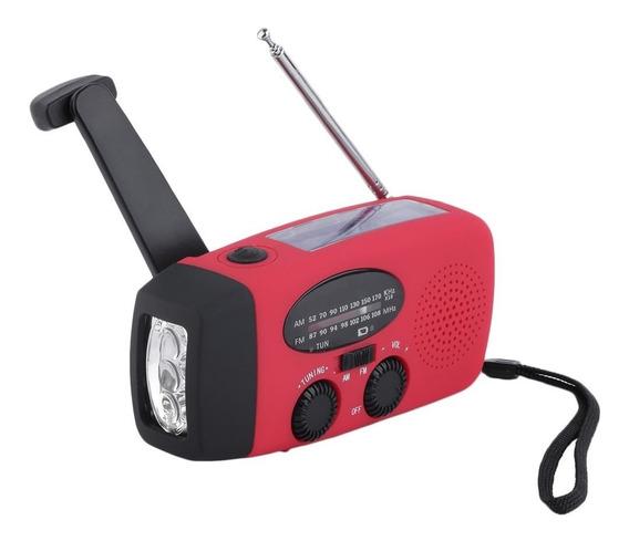 Radio Emergencia Am Fm Carga Solar Y Manual Linterna Led