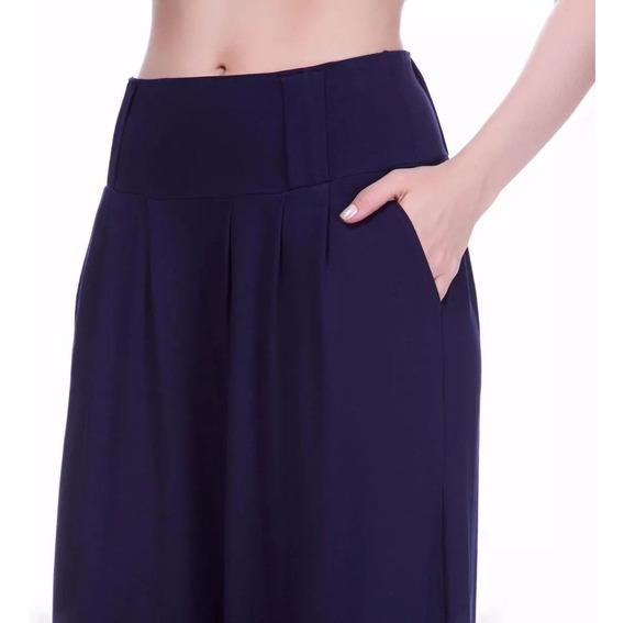 Calça Feminina Pantalona Em Viscolycra Com Passante