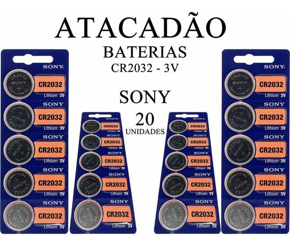 Bateria Sony Cr2032 3v 20 Unidades Atacado Original Relógio