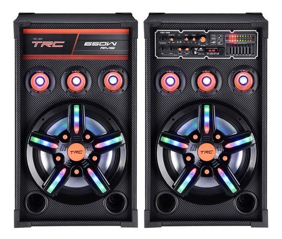Caixa Acústica Dupla Trc 389 Bluetooth Amplificada 650w Led