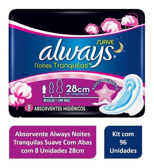 Kit Absorvente Always C/ Abas Noturno 28cm - Pack C/ 96 Unid