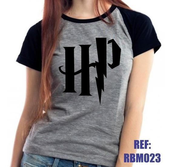Camiseta Raglan Baby Look Harry Potter Hp Mescla