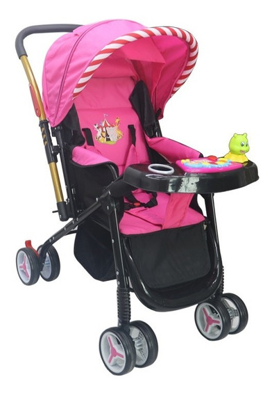 Carrinho De Bebe Vira Berço Alça Reversível Rosa Deko