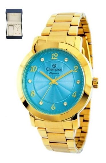 Relógio Original Champion Dourado + Colar E Brinco Cn26573y