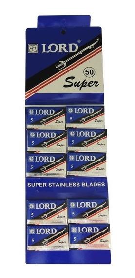 Lâmina De Barbear Lord Super Inteira C/50 Lâminas Para Barbearia