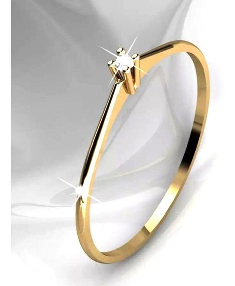 Alianca Solitario Noivado, Amarelo 18k Diamante De 2 Pontos