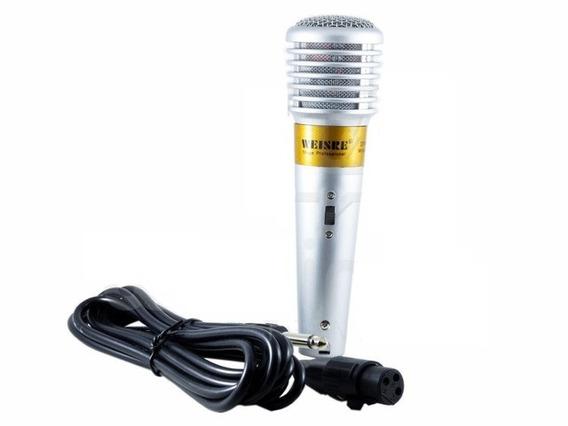 Microfone Profissional C/ Fio Weisker Weisre Cabo P10 De Mão