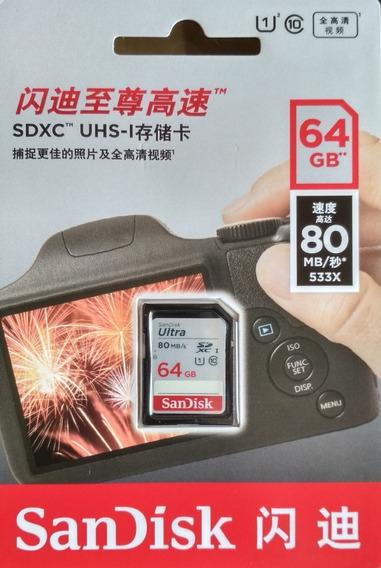 Cartao Sd Sdxc Ultra Sandisk 64gb 80mb/s Uhs-i Lacrado
