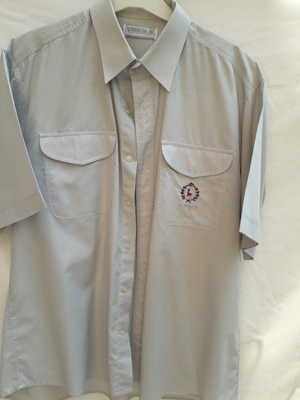 Camisa Hombre Manga Corta Venecia Bolsillo Bordad Talle X L