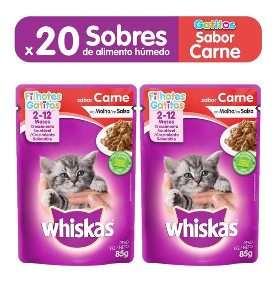Comida Gatos Whiskas Sobres Gatitos Carne X85gr (packx20un)