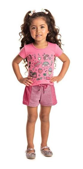 Conjunto Infantil Menina Blusa Cotton Shorts Moletinho 11282